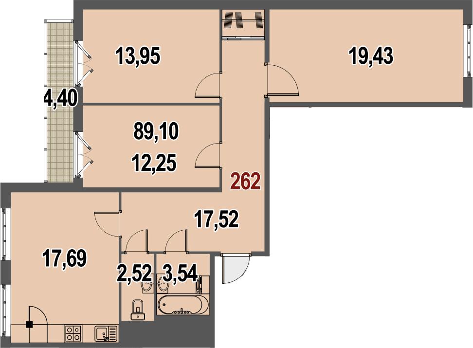 3-к.кв, 89.1 м²