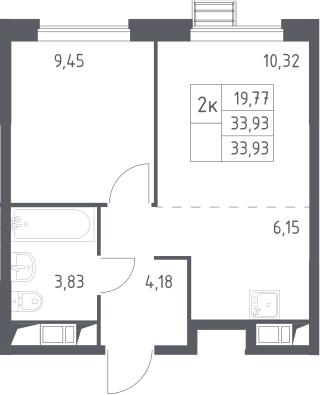 2-к.кв (евро), 33.93 м²