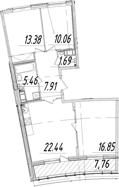 3-к.кв, 81.67 м²