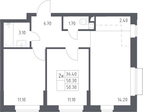 3Е-к.кв, 50.3 м²