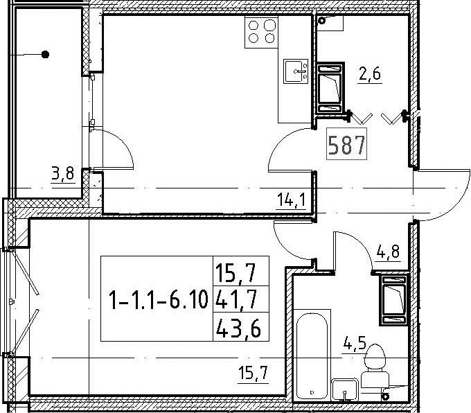 1-комнатная, 43.6 м²– 2