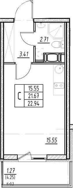 Студия, 21.67 м²