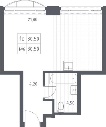Студия, 30.5 м²