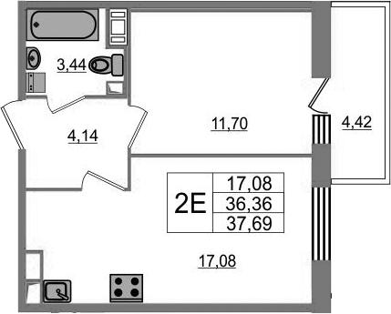2-к.кв (евро), 40.78 м²