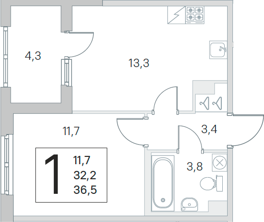 1-к.кв, 32.2 м², 1 этаж