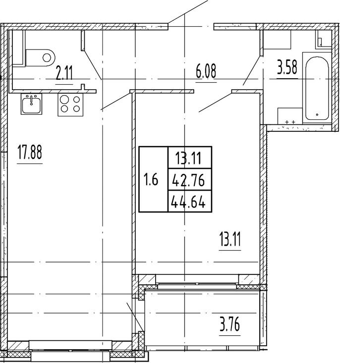 2Е-комнатная, 42.76 м²– 2