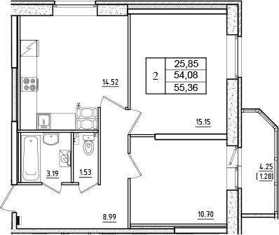 2-комнатная, 55.36 м²– 2
