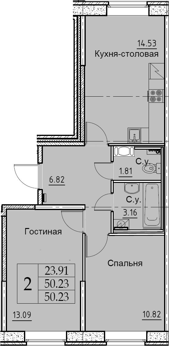 2-к.кв, 50.23 м², 1 этаж