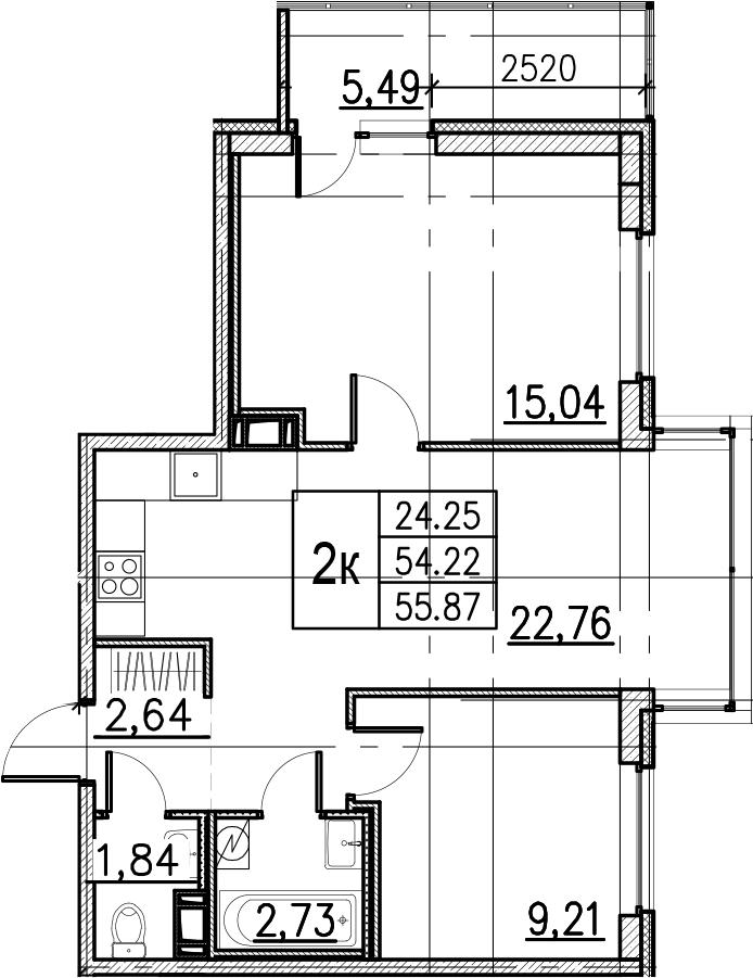 3Е-комнатная, 55.87 м²– 2