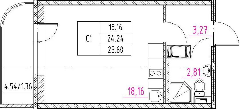Студия, 28.77 м²