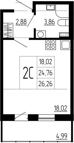 Студия, 24.76 м²– 2