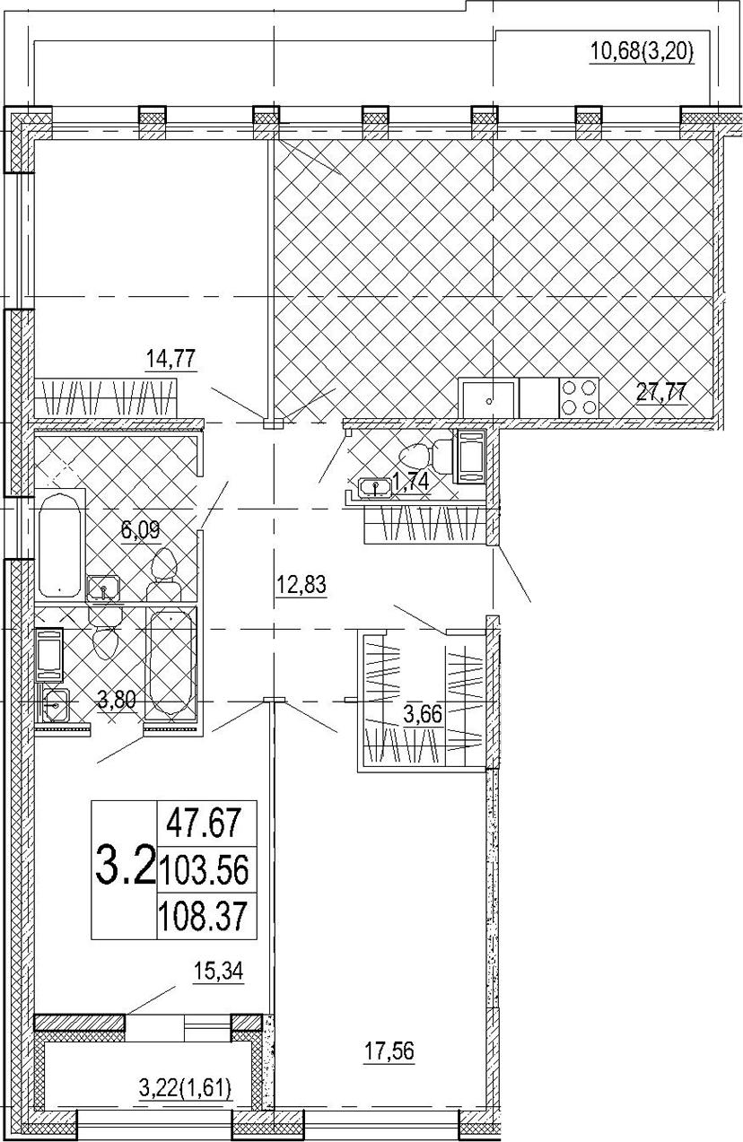 4Е-к.кв, 108.37 м², 8 этаж