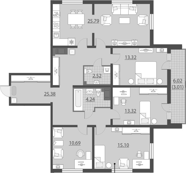 5Е-комнатная, 113.37 м²– 2