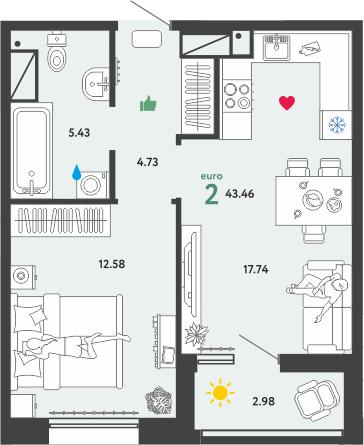 2Е-к.кв, 43.46 м², 6 этаж