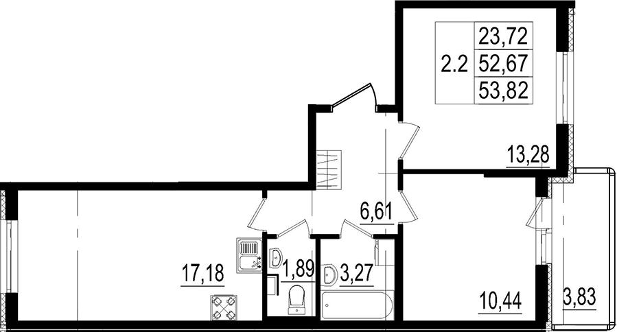 3Е-к.кв, 52.67 м²