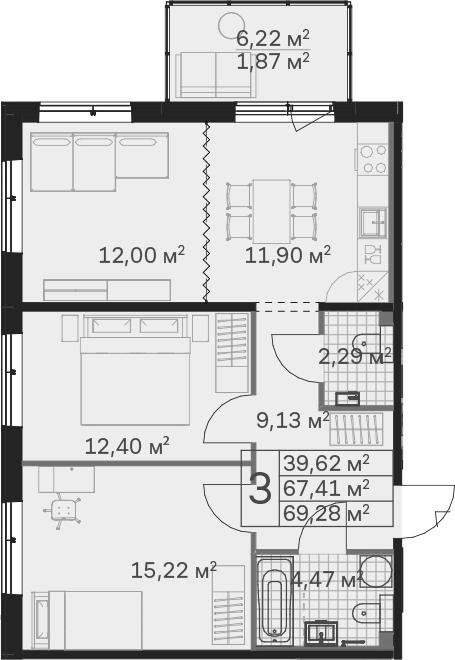 3Е-к.кв, 69.28 м²