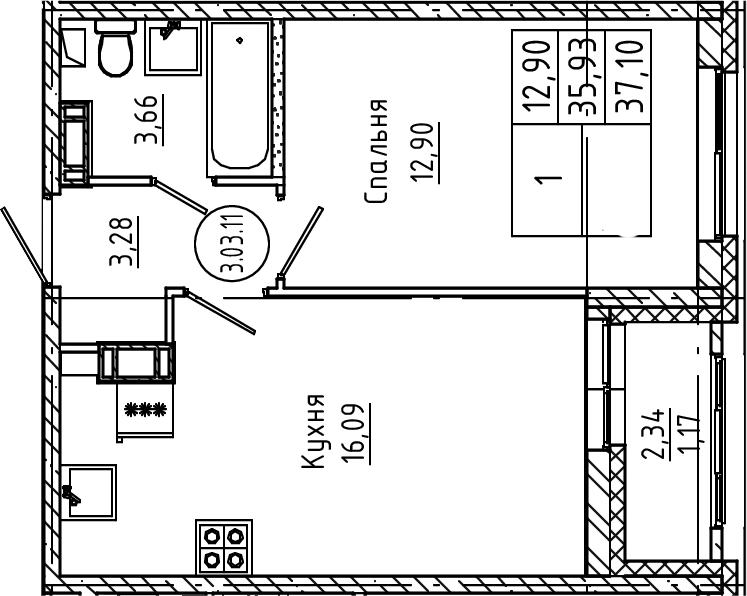 2Е-к.кв, 37.1 м², 3 этаж
