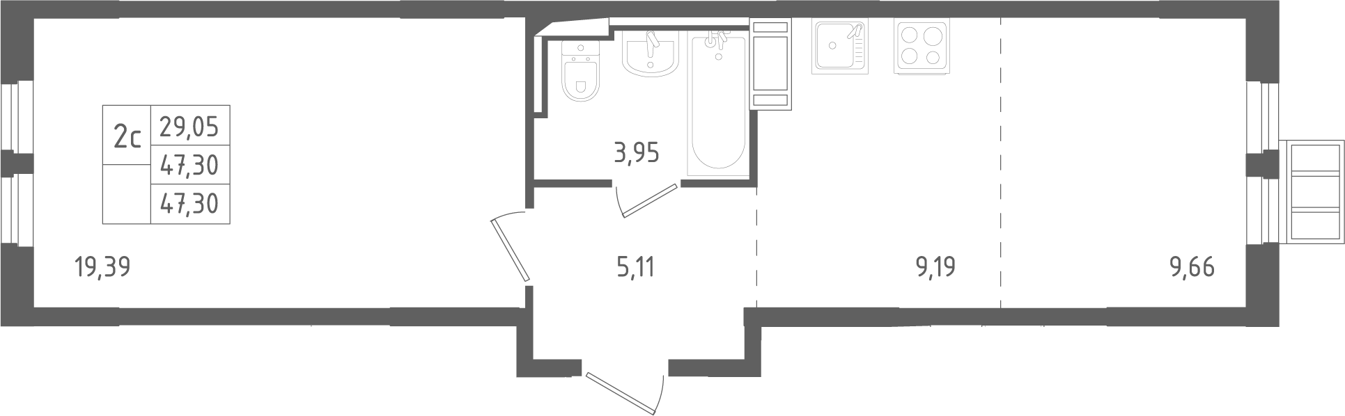 2Е-комнатная, 47.3 м²– 2