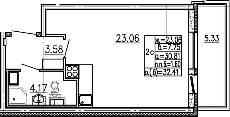 Студия, 36.14 м²