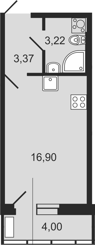 Студия, 27.49 м²