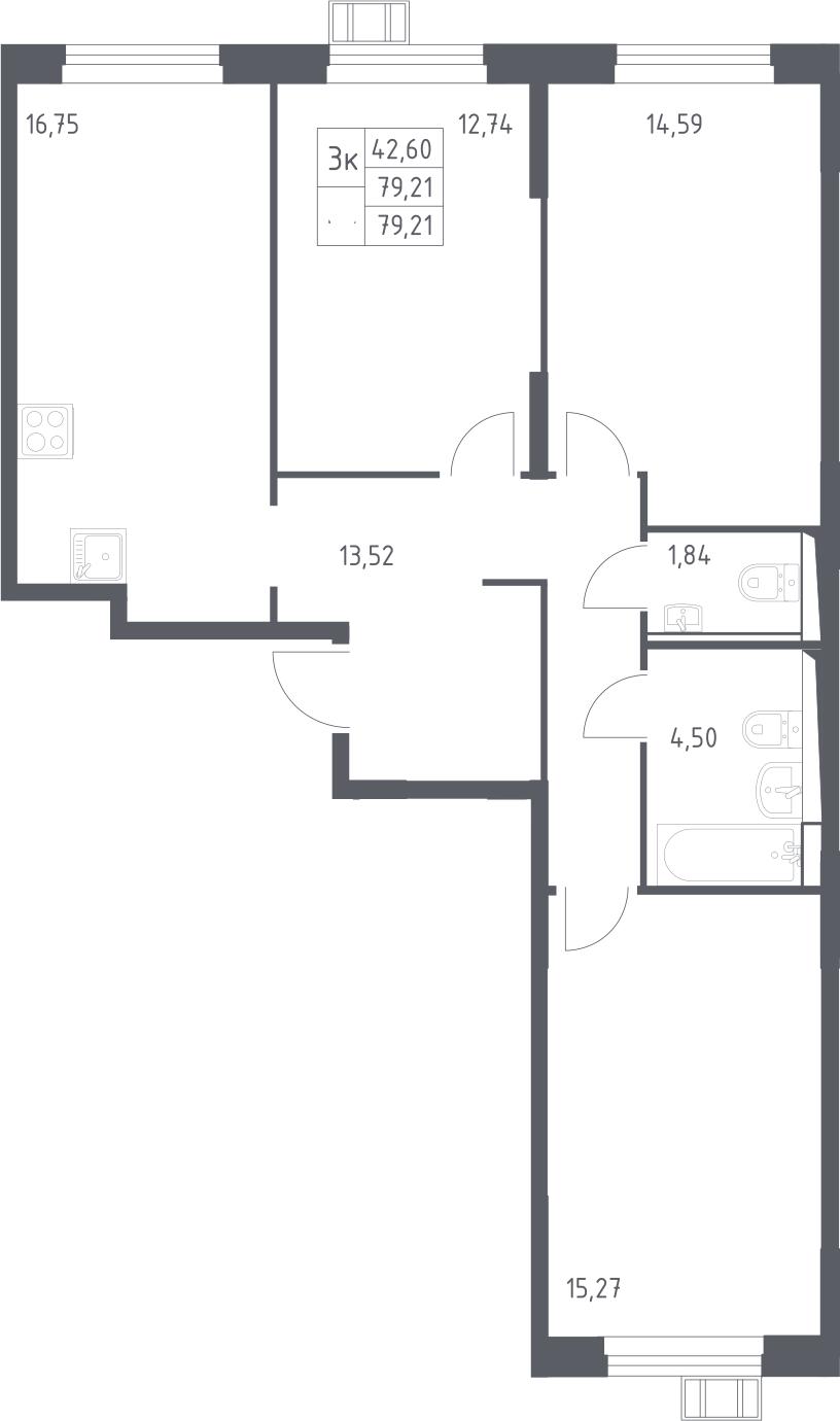 3-к.кв, 79.21 м²
