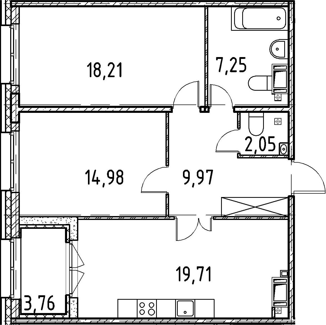 2-к.кв, 72.17 м²