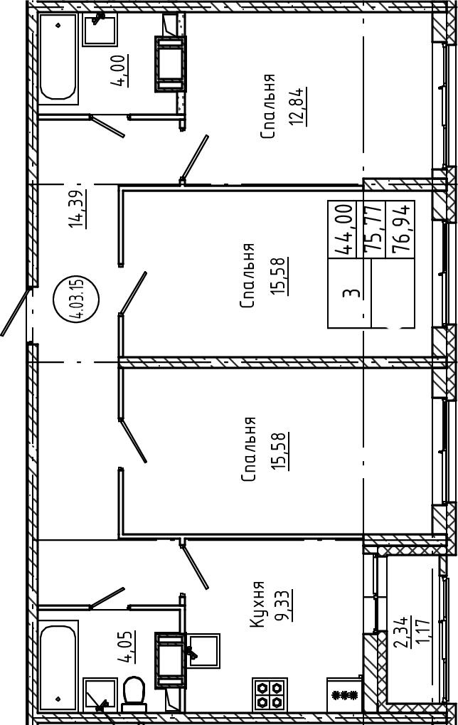 3-комнатная, 76.94 м²– 2
