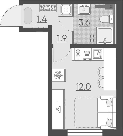 Студия, 18.9 м²– 2