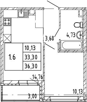 2Е-к.кв, 33.3 м², 2 этаж