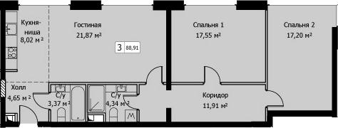 3Е-к.кв, 88.91 м²