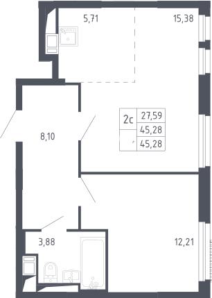 2Е-к.кв, 45.28 м²