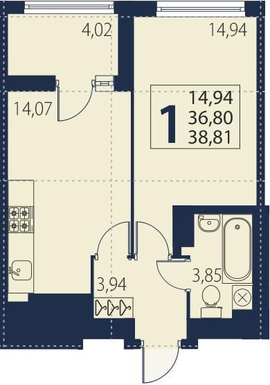 2Е-к.кв, 36.8 м², 27 этаж