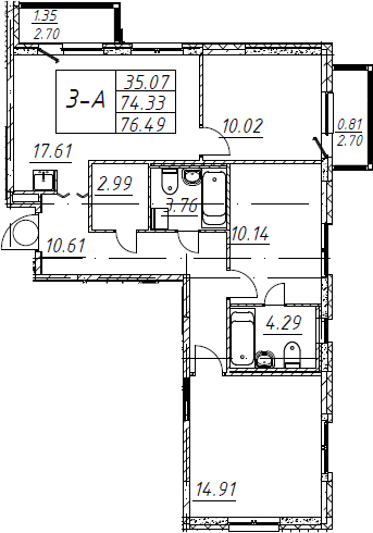 4Е-комнатная, 76.49 м²– 2