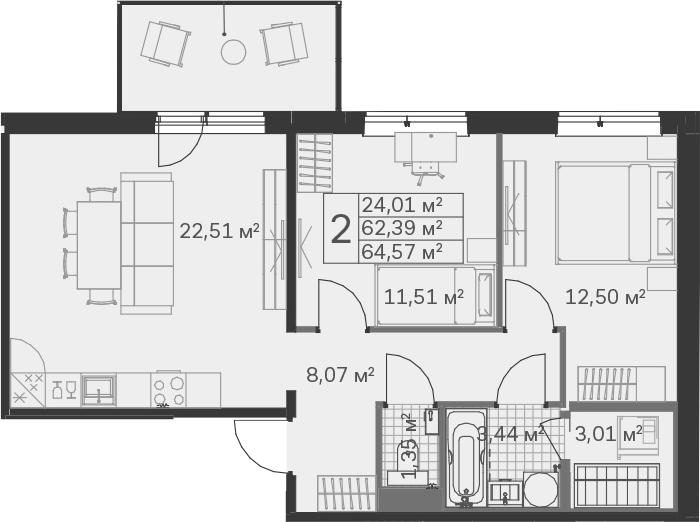3Е-к.кв, 64.57 м², от 3 этажа