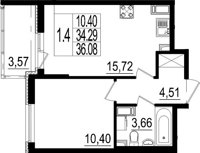 2Е-к.кв, 34.29 м², от 3 этажа