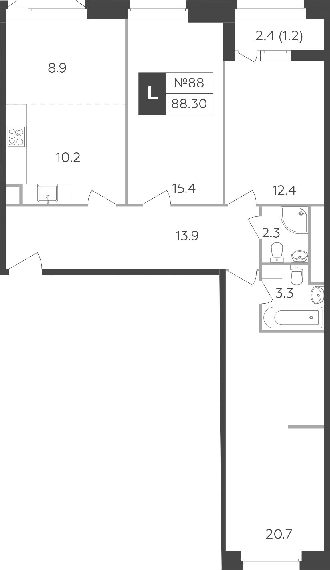 4-к.кв (евро), 89.5 м²