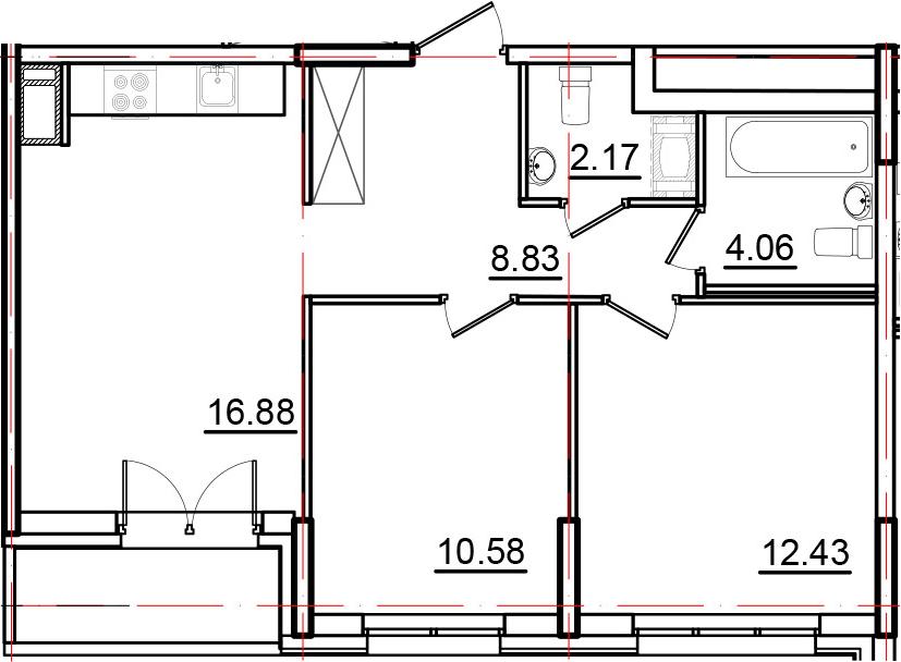 3Е-к.кв, 56.88 м², 11 этаж