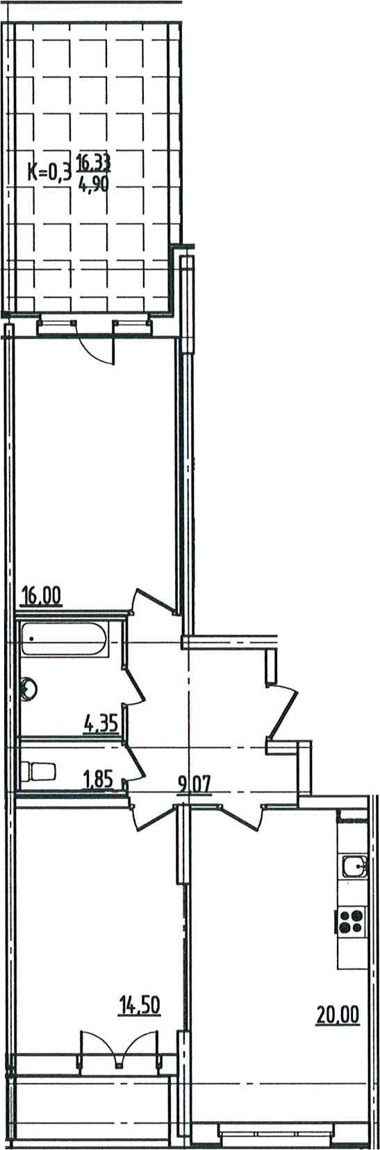 3Е-комнатная, 72.46 м²– 2