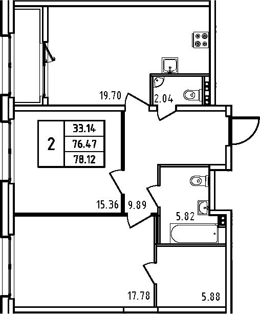 3Е-комнатная квартира, 78.12 м², 5 этаж – Планировка