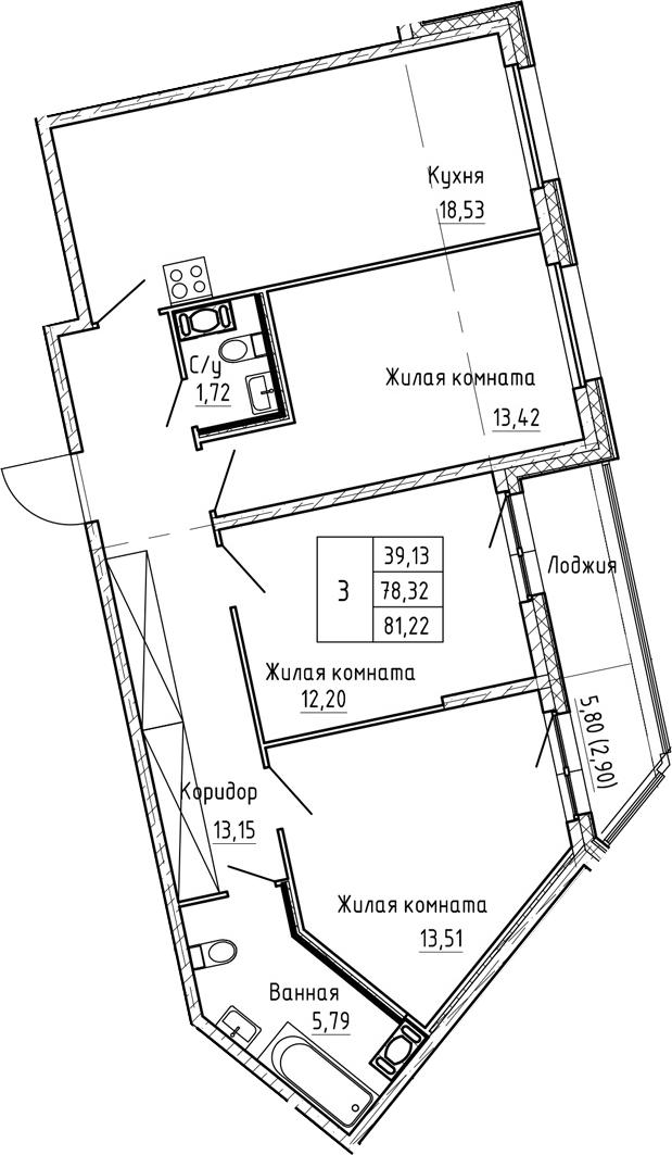 4Е-комнатная, 81.22 м²– 2