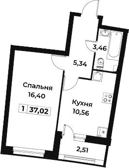 1-комнатная, 37.02 м²– 2