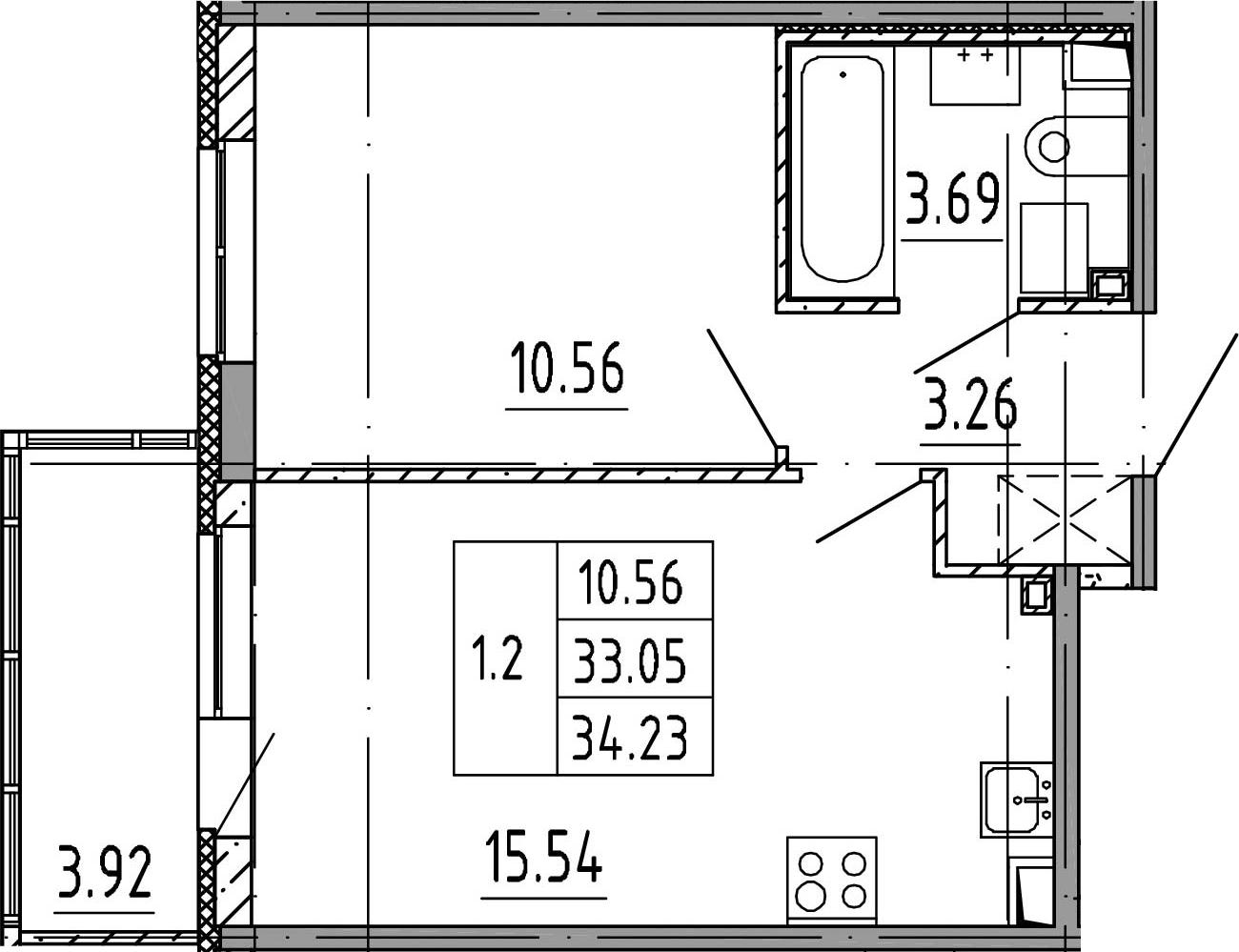 2Е-к.кв, 33.05 м²