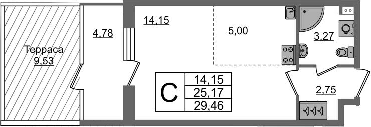 Студия, 25.17 м²– 2