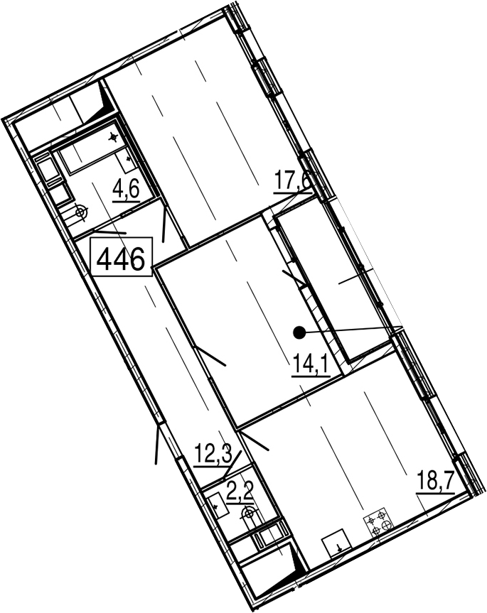 3Е-к.кв, 72 м², 11 этаж