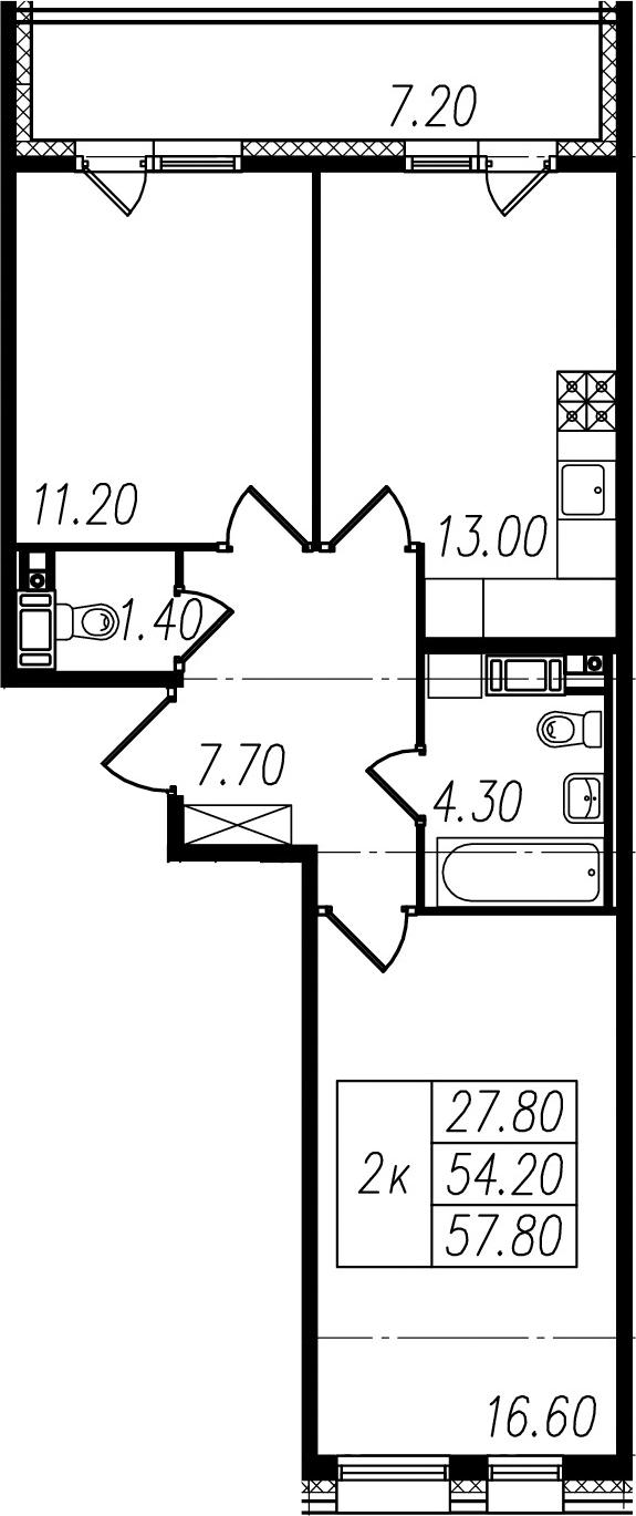 2-к.кв, 54.2 м², 3 этаж