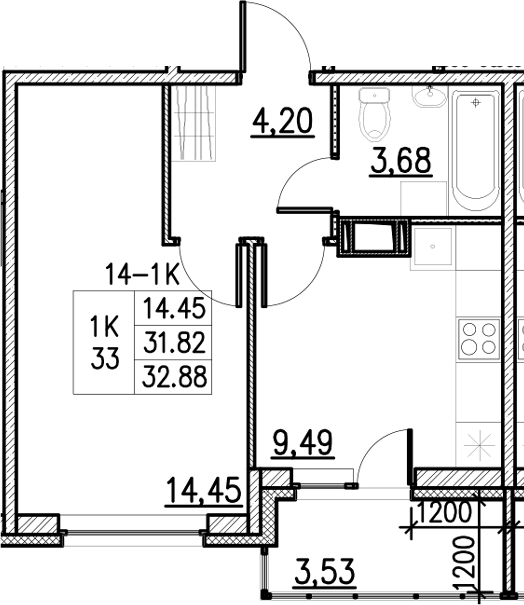 1-комнатная, 32.88 м²– 2