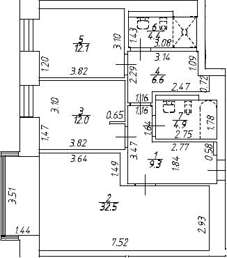 3Е-к.кв, 81.8 м², 7 этаж