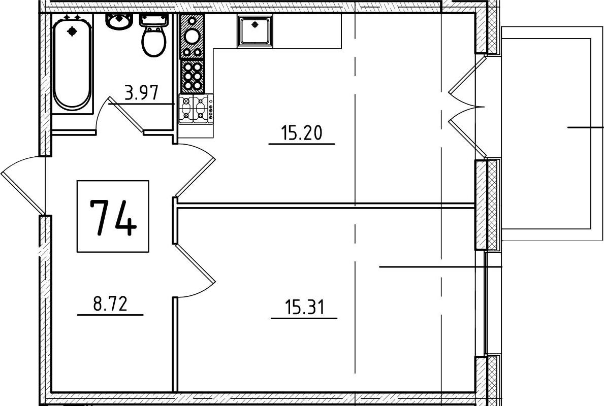 2-к.кв (евро), 48 м²