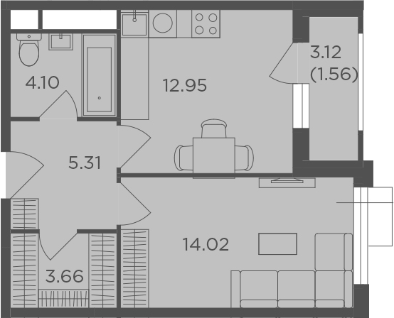 1-комнатная, 41.6 м²– 2