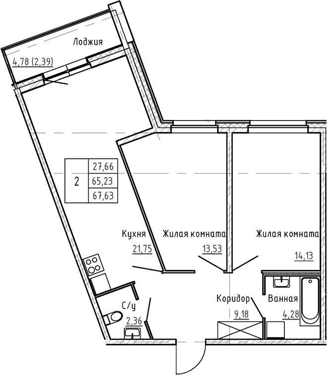 3Е-к.кв, 67.63 м², 1 этаж